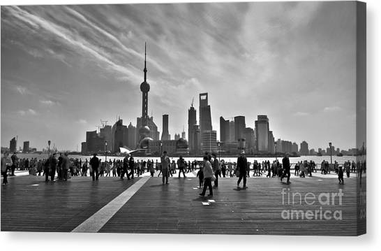Bund Canvas Print - Shanghai Skyline Black And White by Delphimages Photo Creations