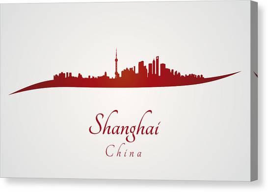 Shanghai Skyline Canvas Print - Shanghai Skyline In Red by Pablo Romero