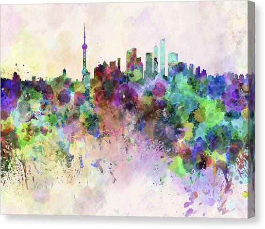 Shanghai Skyline Canvas Print - Shanghai Skyline In Watercolor Background by Pablo Romero