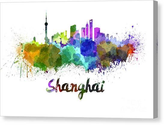 Shanghai Skyline Canvas Print - Shanghai Skyline In Watercolor by Pablo Romero