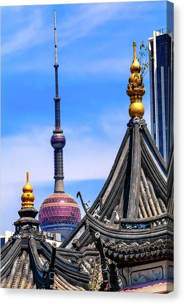 Tv Tower Canvas Print - Shanghai Tv Tower From Yuyuan Garden by William Perry