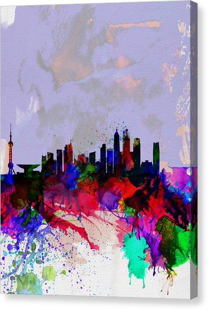 Shanghai Skyline Canvas Print - Shanghai Watercolor Skyline by Naxart Studio