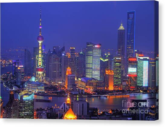 Shanghai Skyline Canvas Print - Shanghai's Skyline by Lars Ruecker