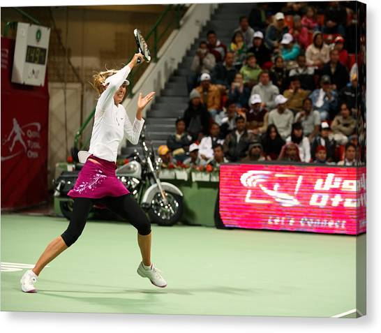 Maria Sharapova Canvas Print - Sharapova At Qatar Open by Paul Cowan