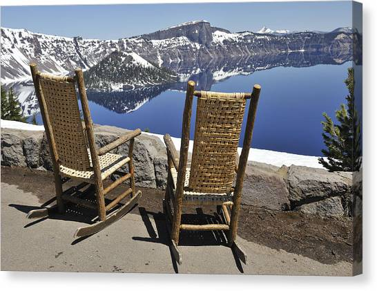 Share A Moment At Crater Lake Oregon Canvas Print by Clay and Gill Ross