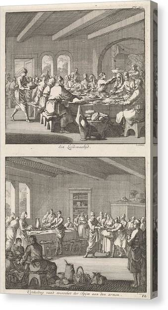 Early Christian Art Canvas Print - Shared Meal Among Christians And Distributing Food by Jan Luyken And Jacobus Van Hardenberg And Jacobus Van Nieuweveen