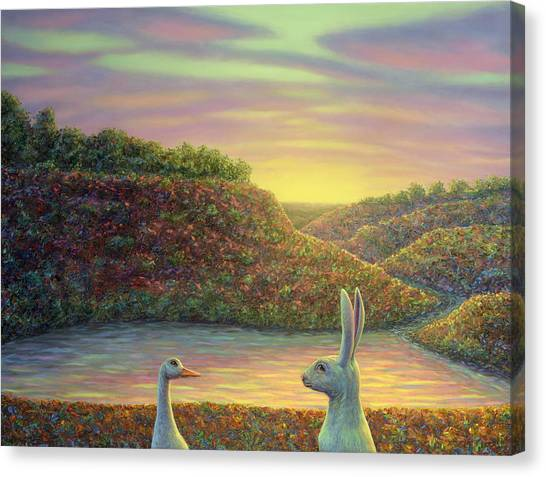 Ducks Canvas Print - Sharing A Moment by James W Johnson