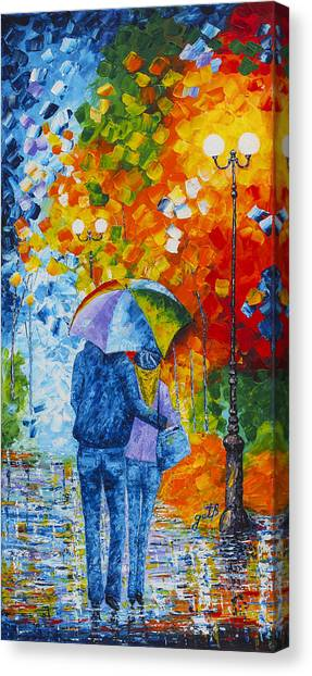 Canvas Print featuring the painting Sharing Love On A Rainy Evening Original Palette Knife Painting by Georgeta Blanaru