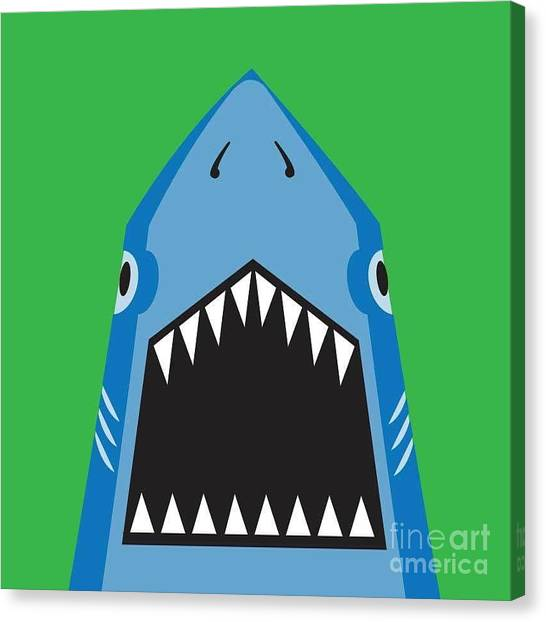 Teeth Canvas Print - Shark Illustration, T-shirt Graphics by Syquallo
