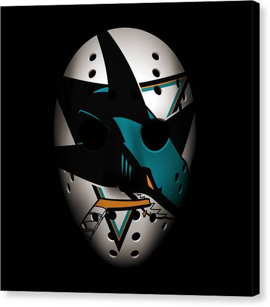 San Jose Sharks Canvas Print - Sharks Goalie Mask by Joe Hamilton