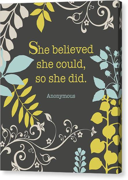 Birthday Canvas Print - She Believed by Cindy Greenbean