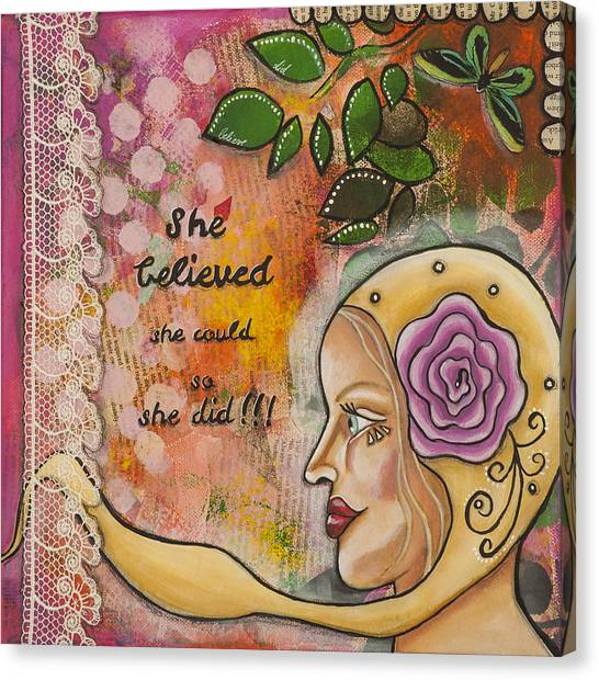 She Believed She Could So She Did Inspirational Mixed Media Folk Art Canvas Print
