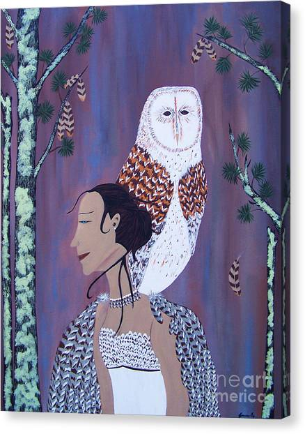 She Flies With The Owls Canvas Print