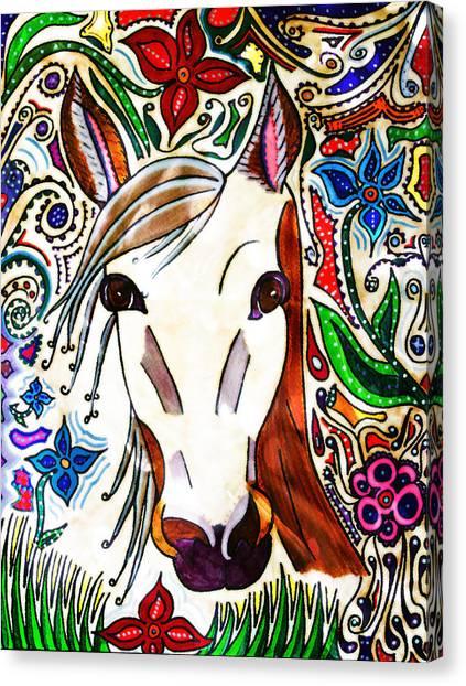 She Grazes Where Flowers Grow - Horse Canvas Print