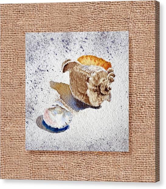 Seashell Fine Art Canvas Print - She Sells Sea Shells Decorative Collage by Irina Sztukowski