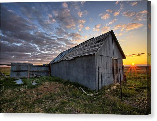 Prairie Sunrises Canvas Print - Shedded Rising by Thomas Zimmerman