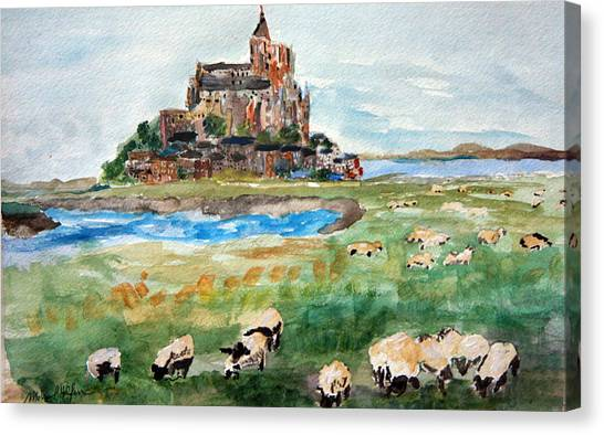 Sheep Grazing At Mont Saint Michel Canvas Print