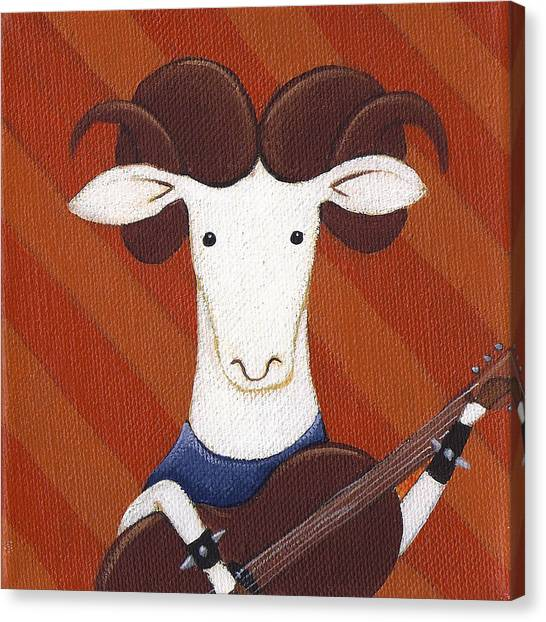Sheep Canvas Print - Sheep Guitar by Christy Beckwith