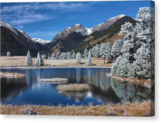 Sheep Lakes In Late October Canvas Print by Darrell E Spangler