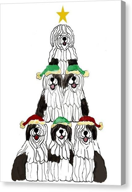 Sheepdog Christmas Tree Canvas Print