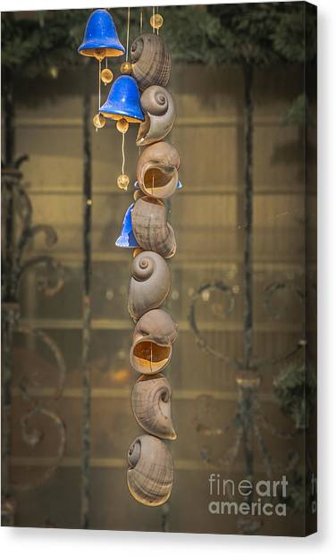 Wind Chimes Canvas Print - Shell And Bell Wind Chime - Hdr Style by Ian Monk