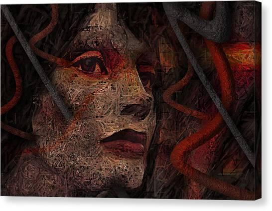 Shell Cyborg Portrait Canvas Print