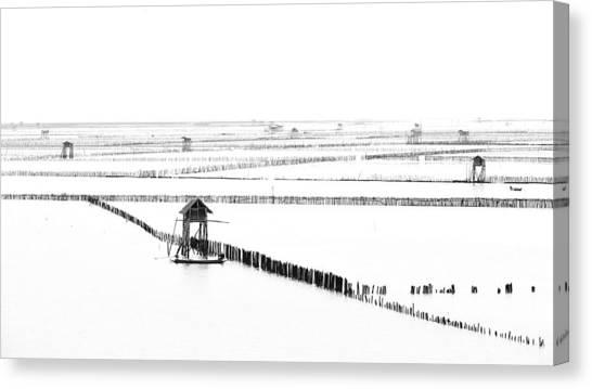 Farm Landscape Canvas Print - Shellfish Farm by Vichaya