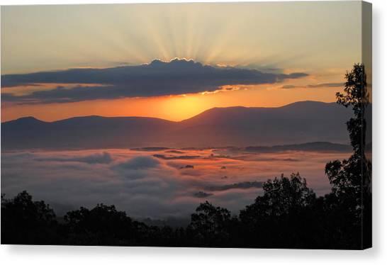 Shenandoah Morning Sunrise Fog  Canvas Print