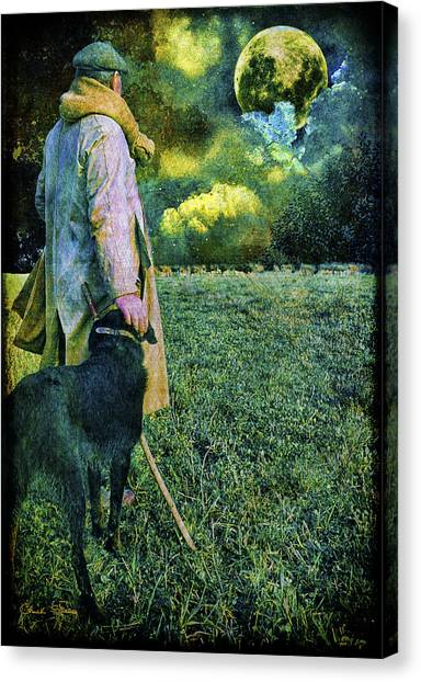 Shepherd And Moon Canvas Print