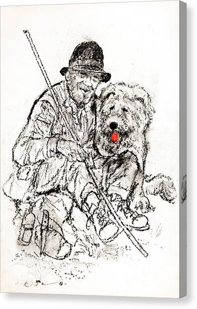 Shepherd With Dog Canvas Print by Kurt Tessmann