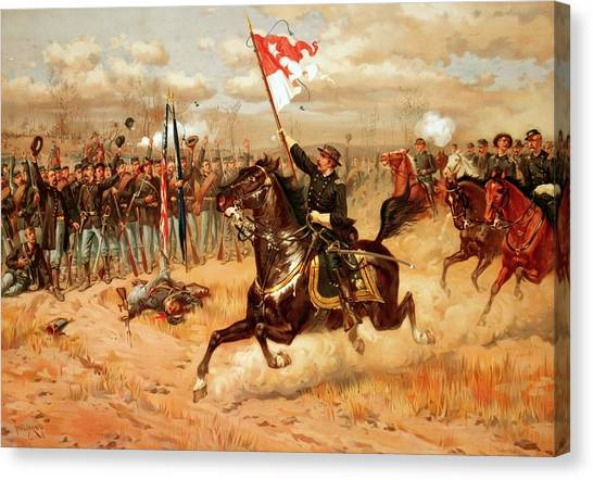 Confederate Army Canvas Print - Sheridan Riding by American School