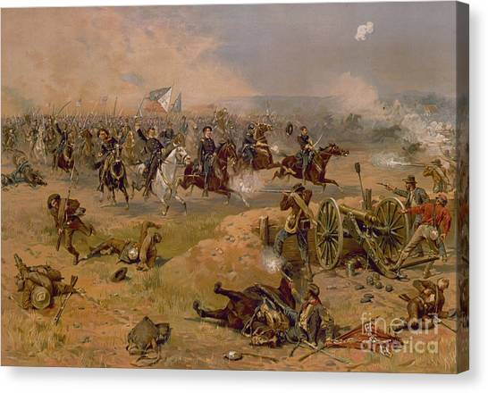 Confederate Army Canvas Print - Sheridan's Final Charge At Winchester by American School