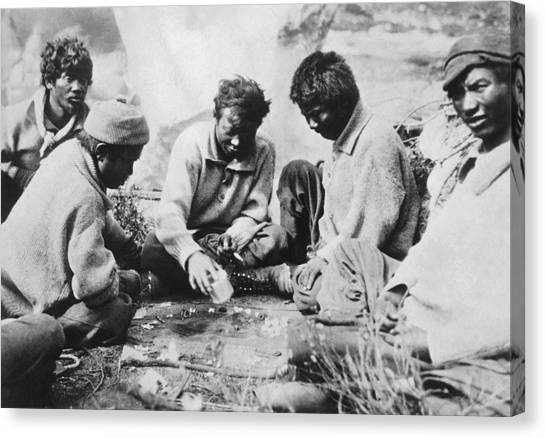Kangchenjunga Canvas Print - Sherpas Playing Backgammon by Underwood Archives