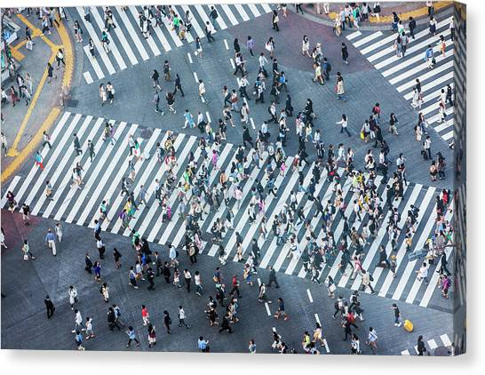 Shibuya Crossing Aerial Canvas Print by Davidf