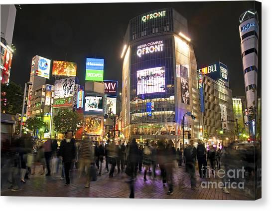 Shibuya Crossing At Night Tokyo Japan  Canvas Print