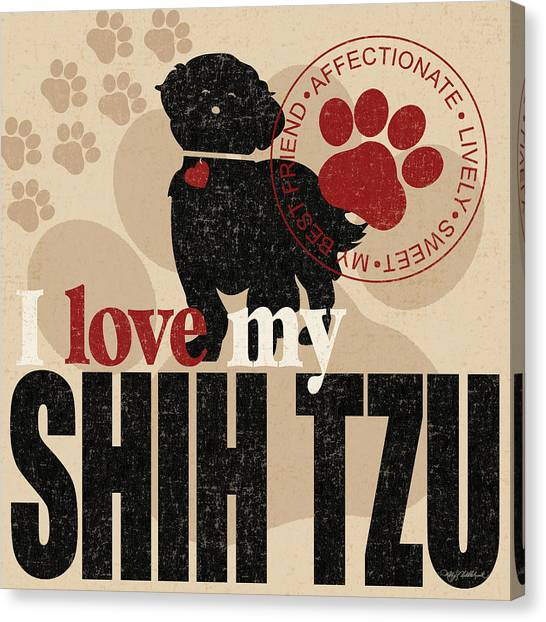 Shih Tzus Canvas Print - Shih Tzu by Kathy Middlebrook