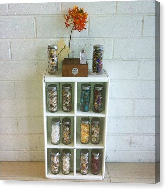 Gemstones Canvas Print - Shikoba Specimen Bottles With Shells Or by Shikoba Photography
