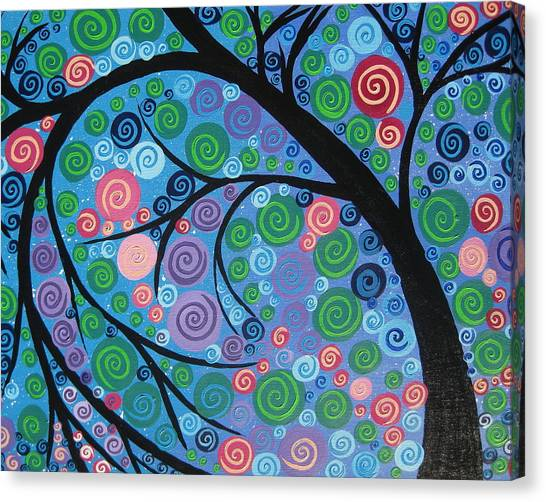 Living With Joy Canvas Print - Shimmer Tree by Cathy Jacobs