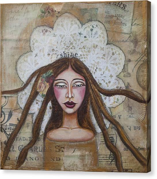 Shine Inspirational Mixed Media Folk Art Canvas Print