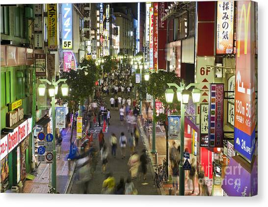 Shinjuku Street Scene At Night Canvas Print