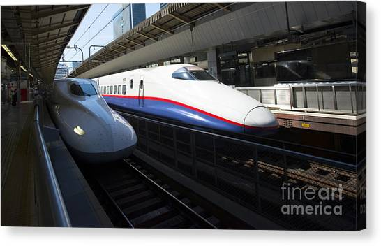 Bullet Trains Canvas Print - Shinkansen by David Bearden