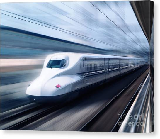 Bullet Trains Canvas Print - Shinkansen High Speed Bullet Train N700 Series by Oleksiy Maksymenko