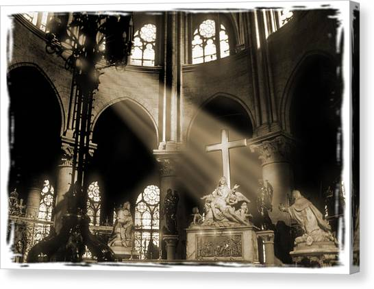 Notre Dame Canvas Print - Shinning Through by Mike McGlothlen