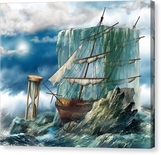 Ship And Ice Canvas Print