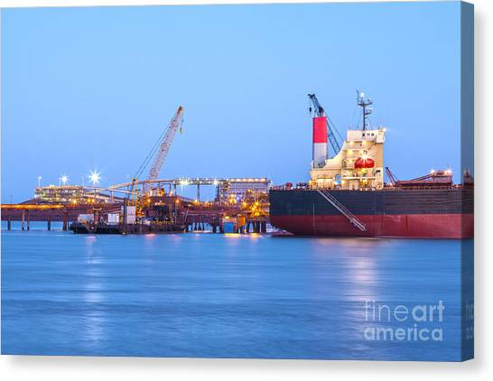 Ore Canvas Print - Ship And Port At Twilight by Colin and Linda McKie