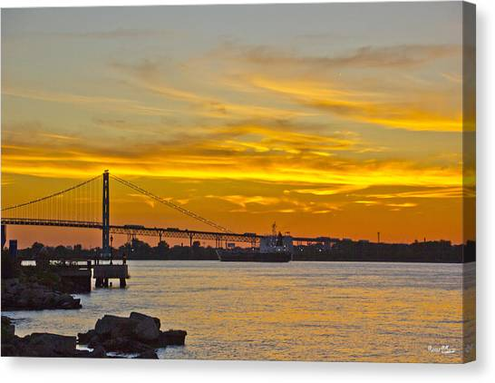 Ship Approaches Ambassador Bridge At Sunset Canvas Print