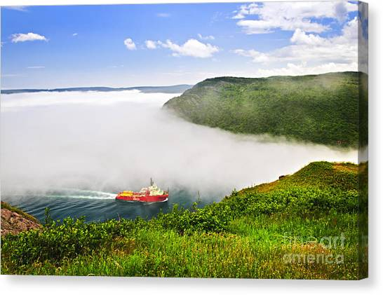 Harbours Canvas Print - Ship Entering The Narrows Of St John's by Elena Elisseeva