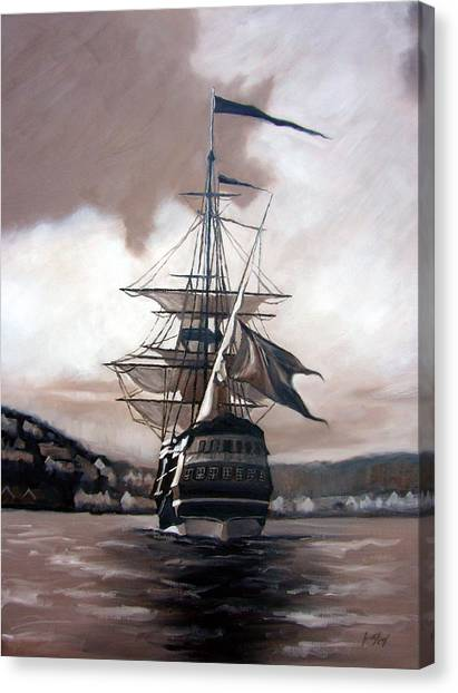 Farsund Canvas Print - Ship In Sepia by Janet King