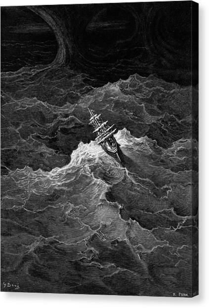 English And Literature Canvas Print - Ship In Stormy Sea by Gustave Dore