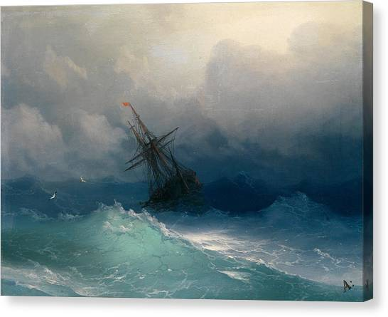 Canvas Print featuring the painting Ship On Stormy Seas by Ivan Konstantinovich Aivazovsky